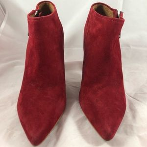 Suede Red Stilettos Booties Size 8.5 Leather EUC